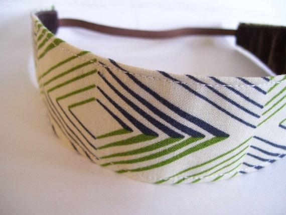 Fabric Headband No Slip Navy and Green Geo