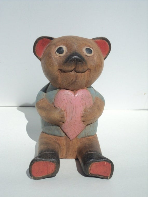 Valentines Day Bear holding Heart, Carved Wooden Bear, rustic, cottage decor