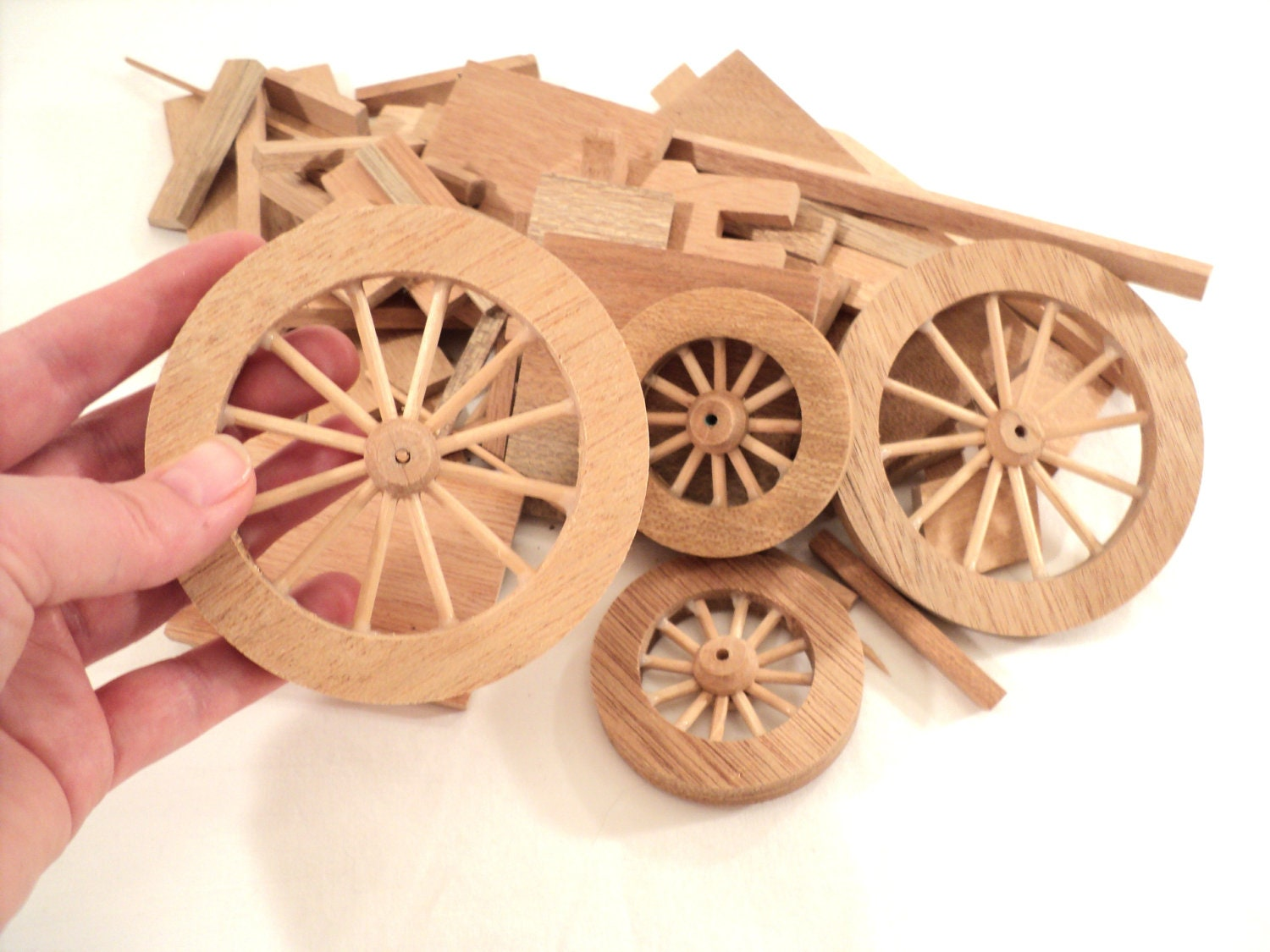 Toy Wooden Wagon parts wooden wheels and by littlecleoathome