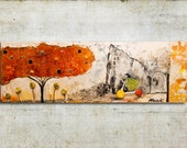 Original, lovely, colorful, small mixed media on canvas 10x30 inch created by Magdalena Krzak
