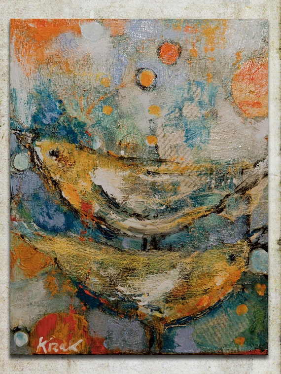 "Art, Mixed Media on Canvas '' Birds"" created by Magdalena Krzak"