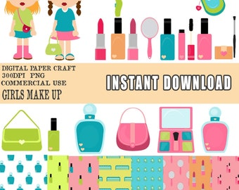Girl Clipart, Make Up clipart, Instant download, digital  papers,