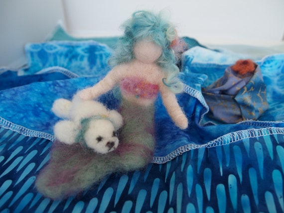 Needle Sculpt Little Mermaid and seal with wave patchwork ocean play mat. OOAK Play set