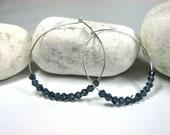 Silver hoop earrings Dark blue Swarovski Crystal navy blue, Sparkle, Handmade Earrings.