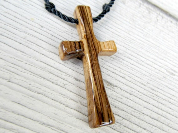 Rustic Hand Carved Cross - African Zebrawood - Mens Jewelry