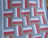 Blue & Red Rail Fence pattern
