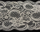 2 Yard WHITE LACE Embossed Double Side Scalloped, lace