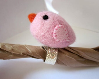 Pink Felt Bird Finger Pincushion Or Art Ring