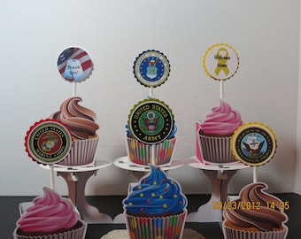 Military Cupcake Toppers-Set of 12