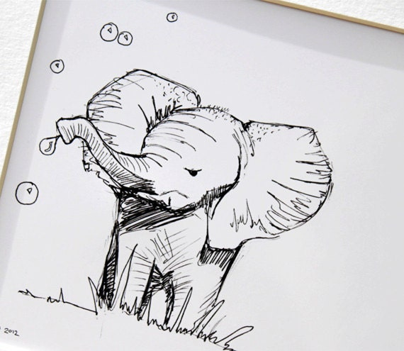 """Original art illustrative print, Elephant blowing bubbles (10"""" x 12"""")"""