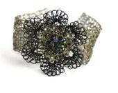 Hand Crochet Gunmetal Wire Flower Bracelet by PrayerMonkey - PrayerMonkey
