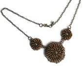 Hand Crochet Wire Vintage Bronze Spirals and Czech Glass Necklace by PrayerMonkey