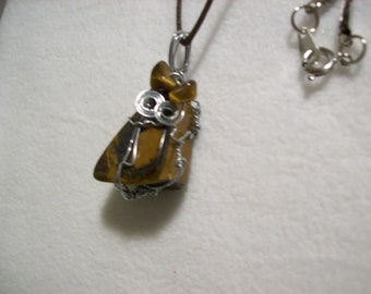 Wire Wrapped Polished Stone Pendant on Cord