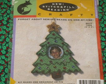 Crafty Christmas Bead Kit Beading TREE Ornament or Pin Picture Frame New Kit dated 1994
