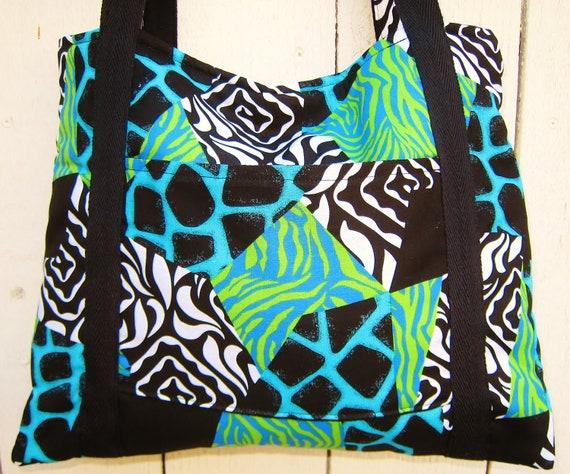 Bright Funky Animal Zebra Print Shoulder Purse (Blue and Green)