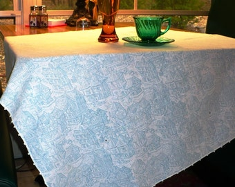 Small Vintage Blue Print Cotton Tablecloth with Hand Crocheted Trim