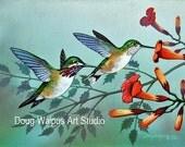 Hummingbird Print, Trumpet Flowers, Birds, Wildlife Art, Nature, Wall Decor