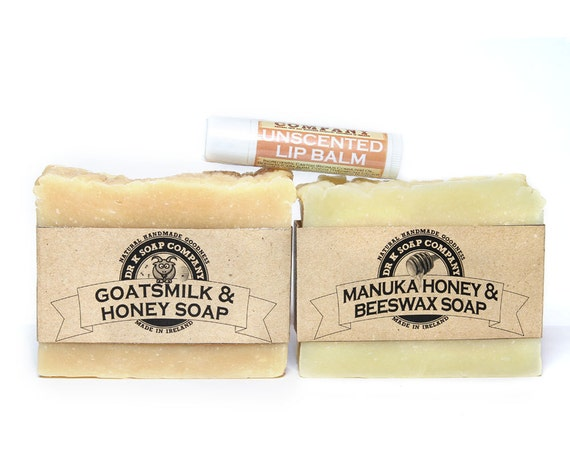 Natural Soap Gift Set Unscented Soap Fragrance Free Soap Honey Soap and Unscented Beeswax Lip Balm