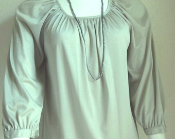 Boho Vintage Blouse Top Light Sage Green Ship N Shore Medium 10