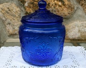 Vintage Cobalt Blue Cookie Jar or Snack Jar or Biscuit Barrel with Lid