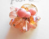Pink Cocktail Ring with Clusters of Glass Czech Beads