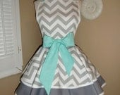 Chevron Print Accented with Aqua Blue Womans Retro Apron With Tiered Skirt And Bib