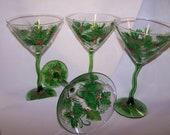 Christmas Holly Martini hand painted glass