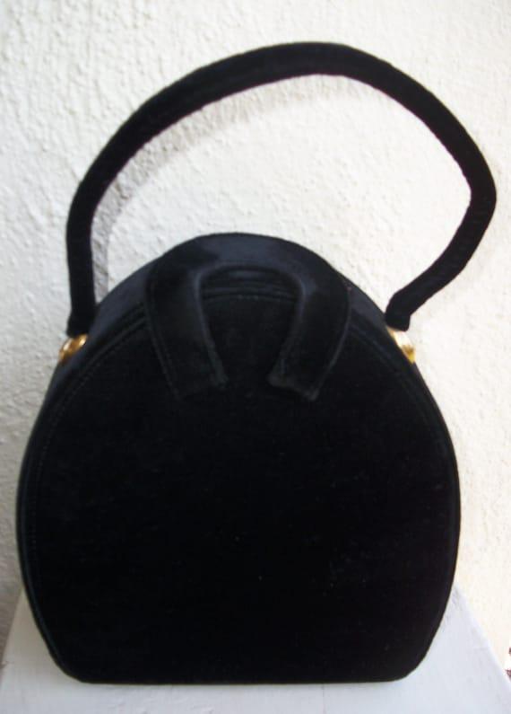Black Velvet Handbag/purse-50s/60s Vintage Glamour-Garay