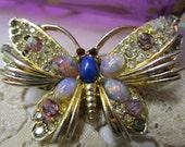 Vintage Rhinestone Butterfly Brooch Dragons Breath Opal