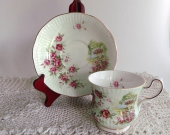 Teacup and Saucer -  Vintage Queen's Stafforshire Fine Bone China - England - 23