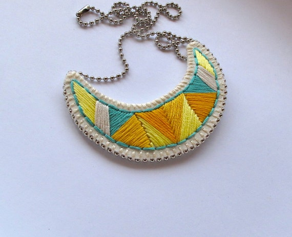 Crescent embroidered pendant necklace in pretty yellows and light teal tribal summer fashion