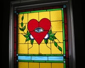SAMPLE - Stained Glass Tattoo Window - Crying Heart/Happy Heart - OOAK - Handcrafted - Made in USA