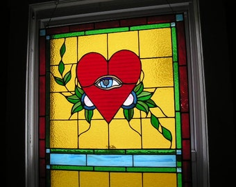 SAMPLE|Stained Glass Tattoo Window|Tattoo StainedGlass|Tattoo|Crying Heart|Happy Heart|Glass Art|OOAK|Handcrafted|Made in USA