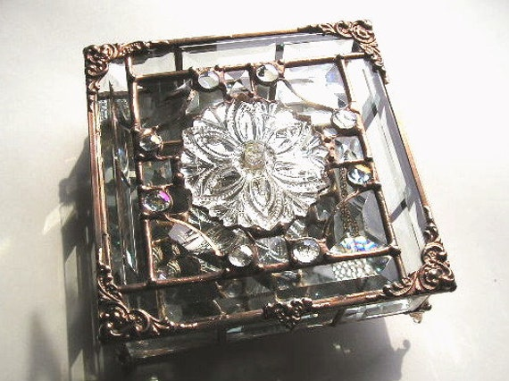 Stained Glass Jewelry Box - Beveled Glass - Antique Clear Tieback - OOAK - Handcrafted - Made in USA