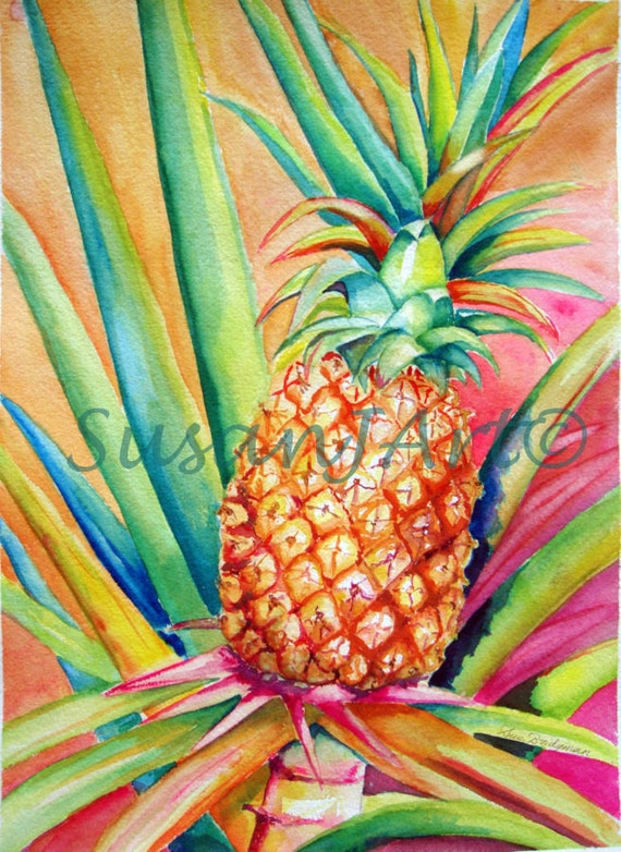 Pineapple Original Art Print 11 x 14