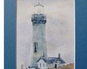 watercolor ORIGINAL Yaquina in Fog II--lighthouse Oregon ocean watercolour