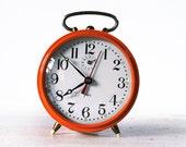 CUTE vintage French JAPY Orange Alarm CLOCK