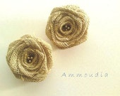 Burlap Rose shoe clips -wedding shoe clips - bridesmaids shoe clips - wedding accessories-set of two-ready to ship