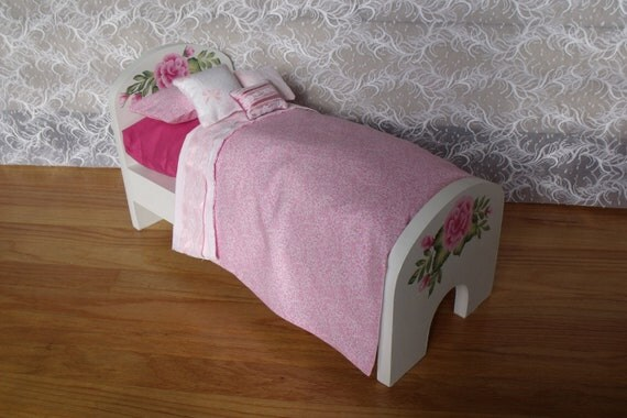 American Girl DOLL BED with very girlie 8 piece bedding set