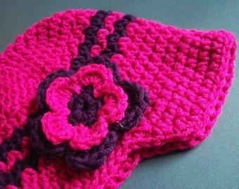 Children Brim Hat - Crochet Brim Hat In Pink And Purple