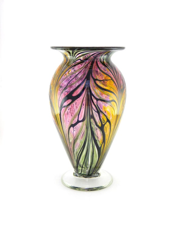 Hand Blown Art Glass Vase - Amber Gold, Pink, and Hyacinth Purple