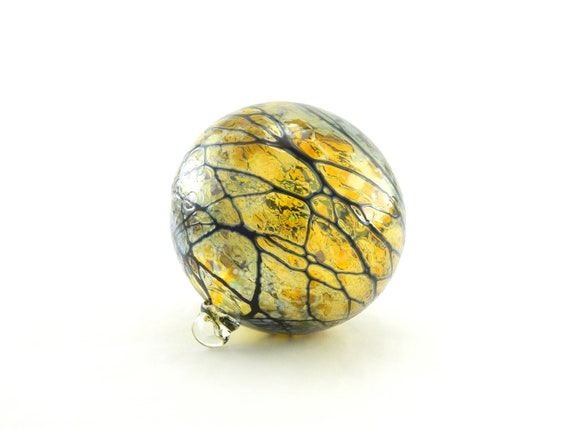 Hand Blown Art Glass Ornament - Iridescent Gold Amber with Black Stripes