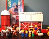 Complete Fisher Price Farm, Little People, Original Box