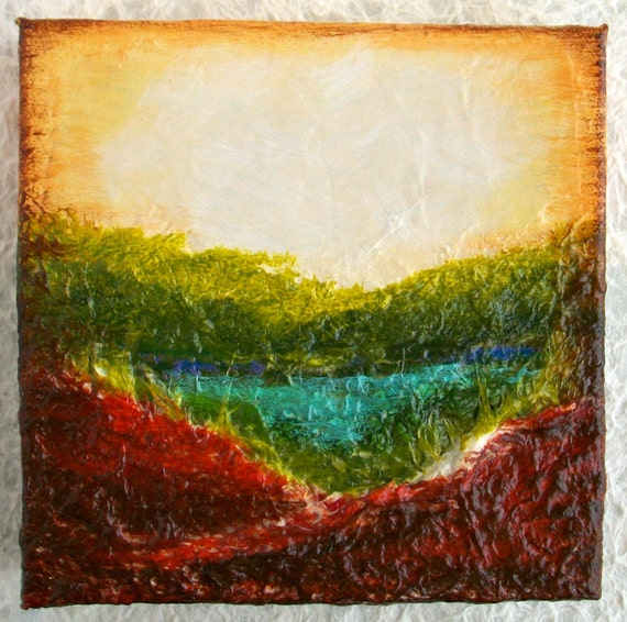 Original Abstract, Landscape Painting, Textured, Earthy, Collage Mixed Media,  box canvas, ready to hang, home decor,