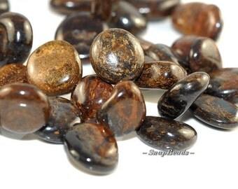 Toffee Bar Bronzite Gemstones River Pebble 15X12MM Loose Beads 7.5 inch Half Strand (90108556-106)