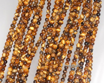 3MM Cognac Tiger Eye Gemstone Round 3MM Loose Beads 16 inch Full Strand (90114024-107 - 3mm A)