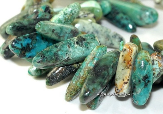 African Turquoise Gemstones Stick River Pebble Chip 23X8MM Loose Beads 7.5 inch Half Strand (90108495-106)
