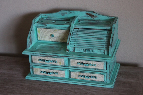 Shabby Chic Painted Tiffany Blue vintage Jewelry Box Storage