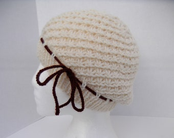 Clearance. Hand Knit Girl or Women Slouchy Hat, Knit Ecru Hat with Brown Tie