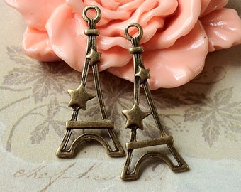 13 x 30 mm Antiqued Bronze Eiffel Tower Charm Pendants (.th)